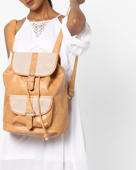 Backpack With Buckle Closures By Kanvas Katha ( Tan )
