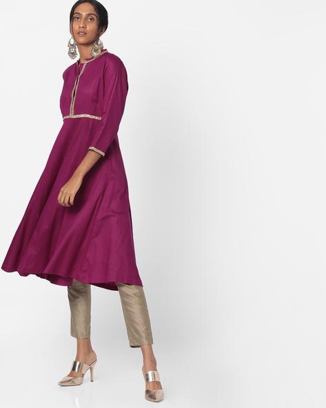 Anarkali Kurta With Gota Lace By Sassafras ( Purple )