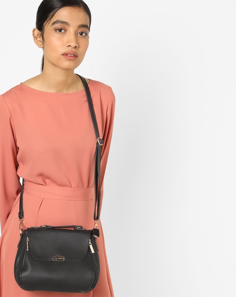 Satchel Bag With Detachable Sling By Lino Perros ( Black )