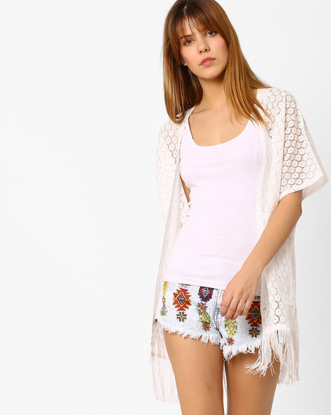 Floral Lace Shrug With Tassels By Vero Moda ( White )
