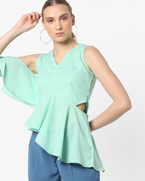 Sleeveless Flared Top With Cut-Outs By AJIO ( Lightgreen )