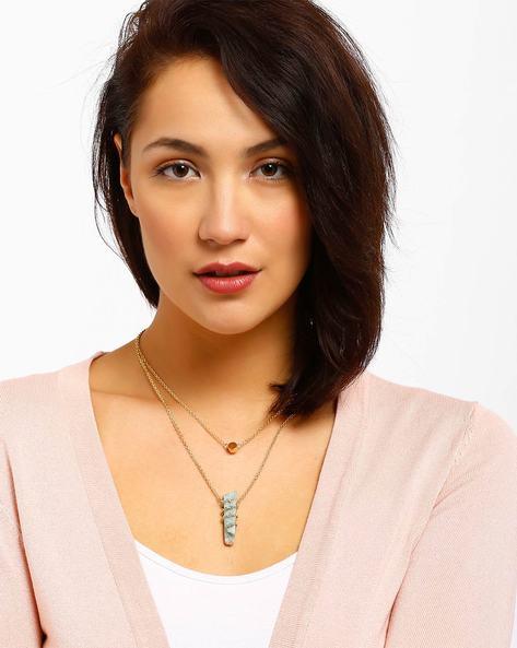 Layered Necklace By AJIO ( Lightblue )