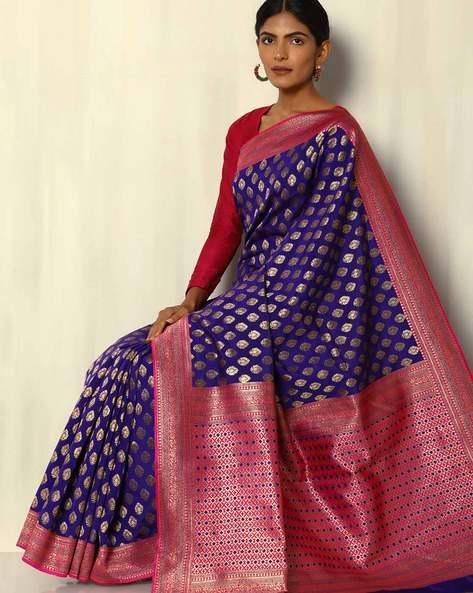 South Silk Thousand Buta Saree With Zari Border By Pretty Woman ( Blue )