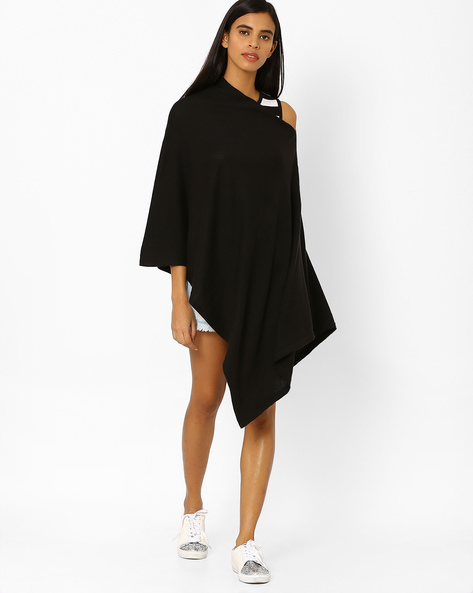 Knitted Off-Shoulder Poncho Top By Pluchi ( Black )