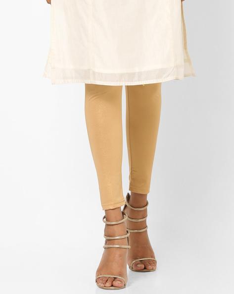 Mid-Rise Shimmery Leggings By Global Desi ( Brown )