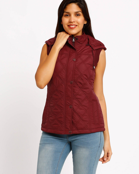 Sleeveless Hooded Jacket By Fort Collins ( Red )