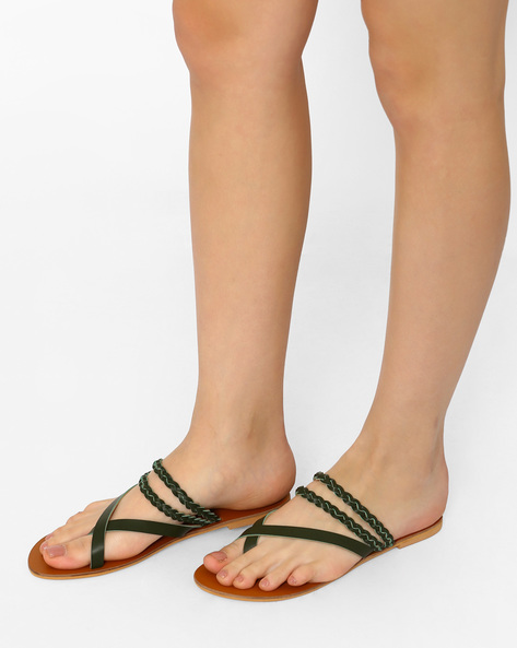 Flat Sandals With Braided Straps By Curiozz ( Green )