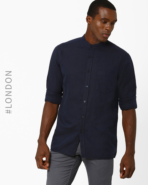 Linen Shirt With Patch Pocket By Marks & Spencer ( Navy )