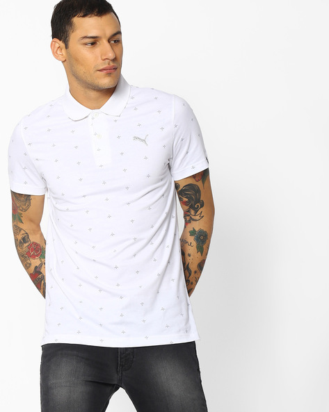 All-Over Print Polo T-shirt By Puma ( White )