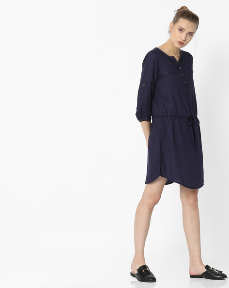 Shirt Dress With Pockets By Fame Forever By Lifestyle ( Navy )
