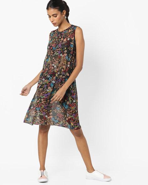 Sleeveless Floral Print Dress By Avirate ( Multi )