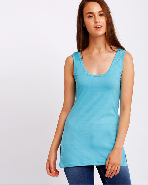 Cotton Camisole With Side Slits By Floret ( Turquoise )