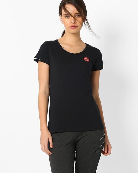 Cotton Crew-Neck T-shirt By TEAM SPIRIT ( Black )