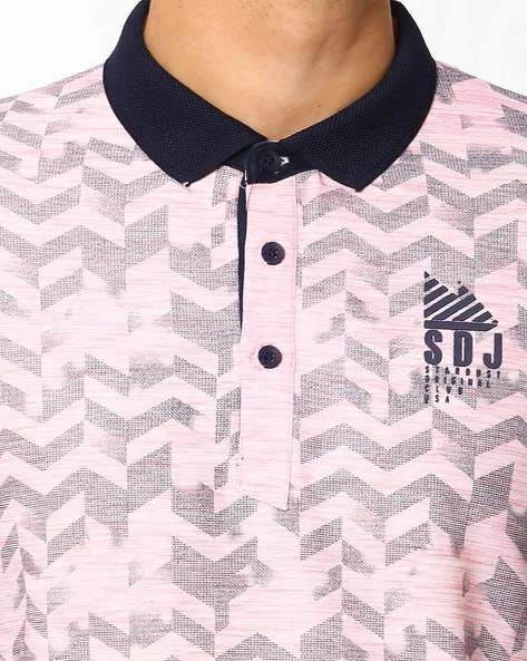 Printed Slim Polo T-shirt By DUKE ( Pink )