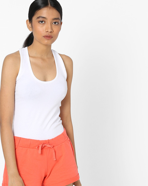 Scoop-Neck Racerback Top By Pink Woman ( White )