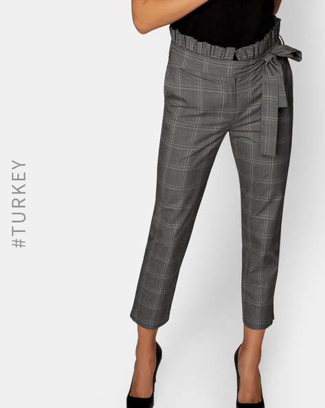 Checked Pants With Tie-Up Waist By TRENDYOL ( Grey )