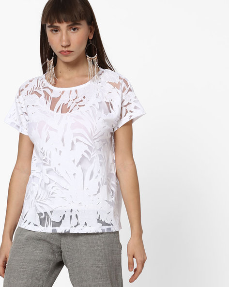 Leaf Print Sheer T-shirt With Drop Shoulders By FIG ( White )