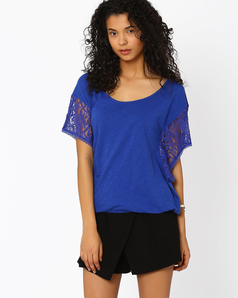 Top With Lace Sleeves By RIDRESS ( Blue )