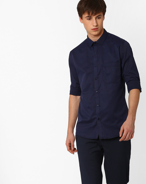 Slim Fit Dobby Formal Shirt By British Club ( Navyblue )