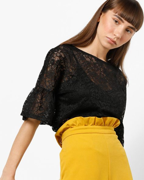 Lace Top With Flared Sleeves By Only ( Black )