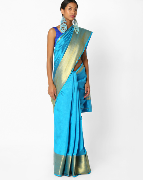 Saree With Wide Zari Border By Amori ( Blue )
