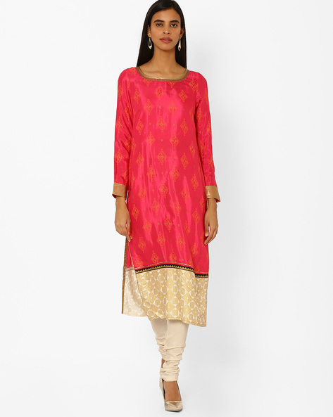 Printed Straight Kurta With Contrast Hemline By W ( Pink )