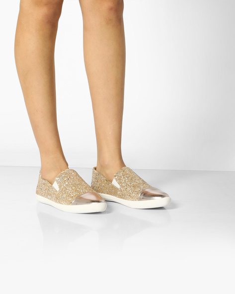 Shimmery Casual Slip-Ons By AJIO ( Lightgold )