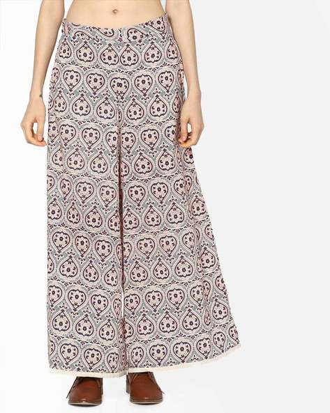 Printed Palazzos With Elasticated Waist By Melange By Lifestyle ( Offwhite )