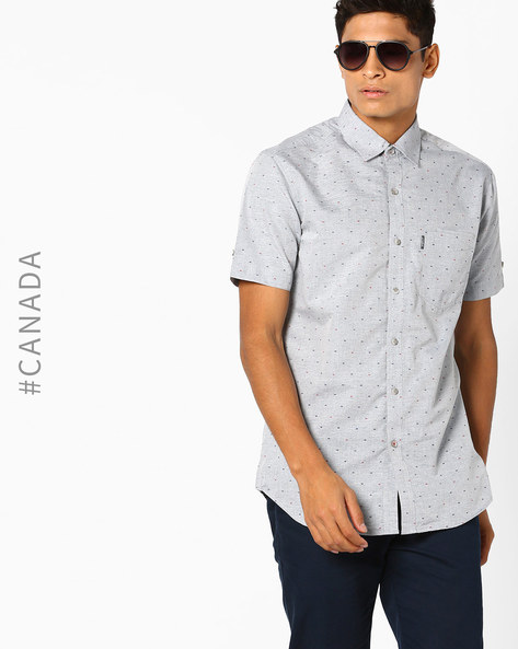 Easy Iron Semi-Fit Shirt With Patterned Weave By Point Zero ( Chrome )