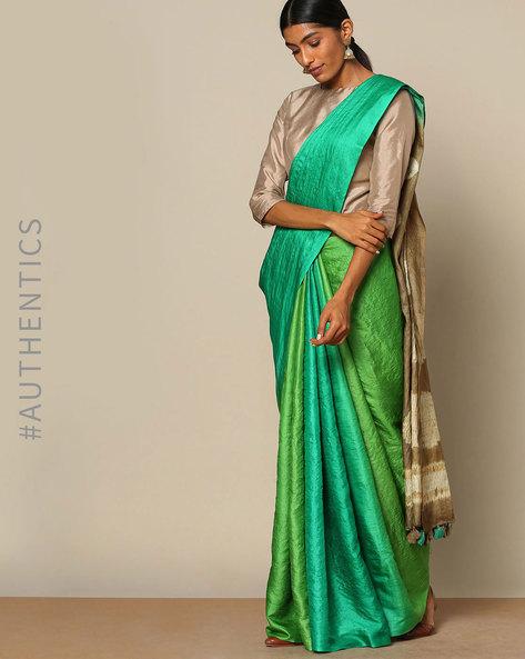 Pure Silk Tussar Desi Shibori Saree By Rudrakaashe-MSU ( Green )