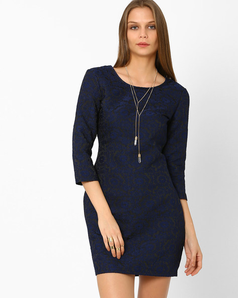 Lace Sheath Dress By AJIO ( Navyblue )