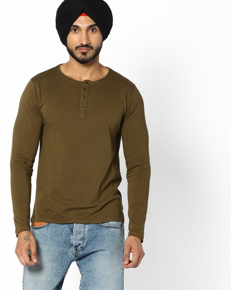 Henley T-shirt With Full Sleeves By AJIO ( Olive )