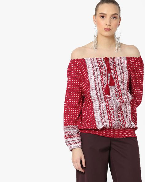 Printed Top With Tie-Up By DNMX ( Red )