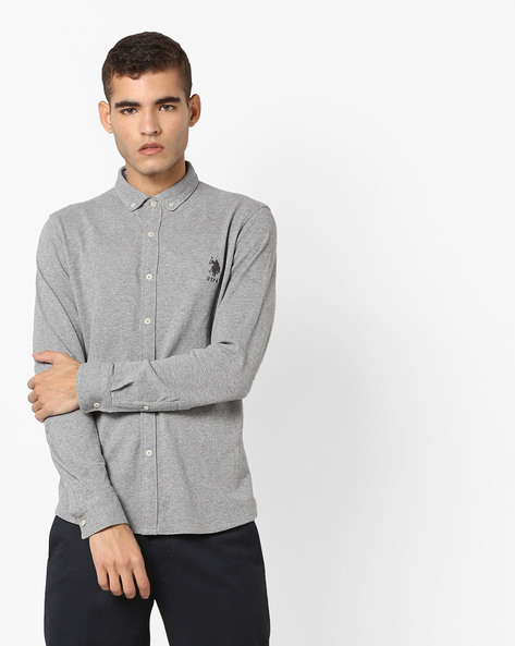 Polo T-shirt With Button-Down Collar By US POLO ( Grey )