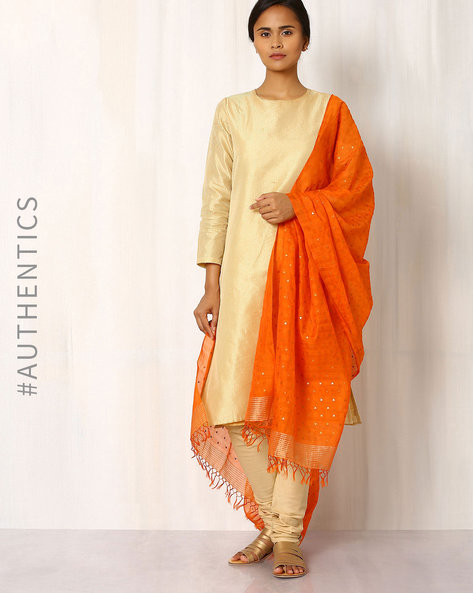 Handwoven Sequinned Silk Cot Dupatta By Indie Picks ( Orange )