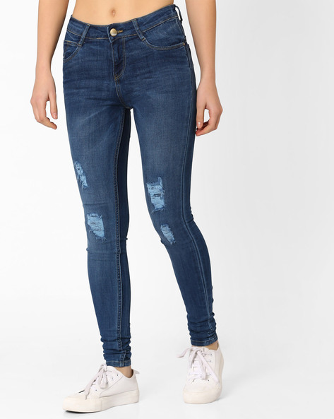Lightly Distressed Skinny Jeans By KRAUS ( Blue )