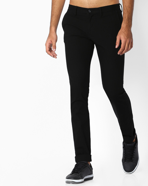 Flat-Front Slim Fit Trousers By INDIAN TERRAIN ( Black )