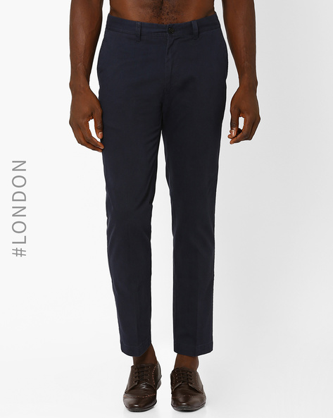 Pure Cotton Regular Fit Chinos By Marks & Spencer ( Navy )