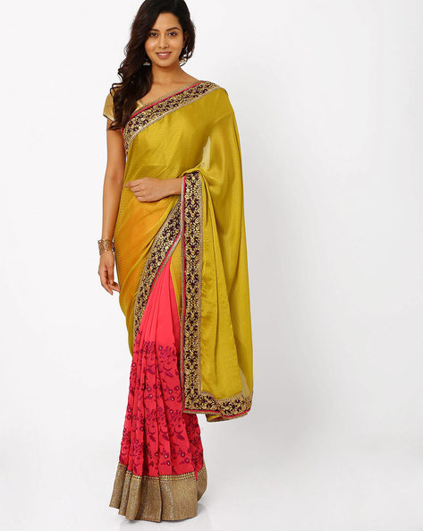 Embroidered Chiffon Half & Half Saree By Florence ( Olive )
