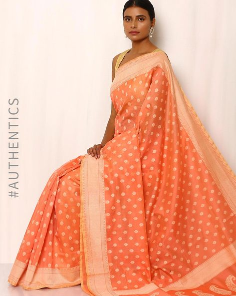 Banarasi Pure Silk Katan Cotton Cutwork Saree By Indie Picks ( Peach )