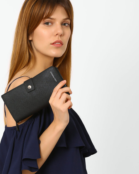 Bi-Fold Wallet With Tab Closure By Lino Perros ( Black )