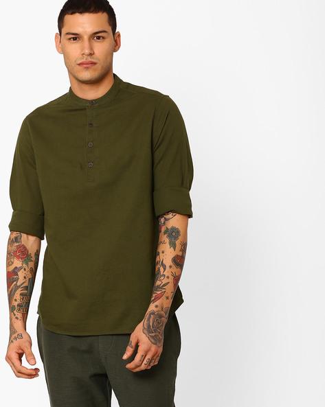 Shirt With Mandarin Collar By AJIO ( Olive )
