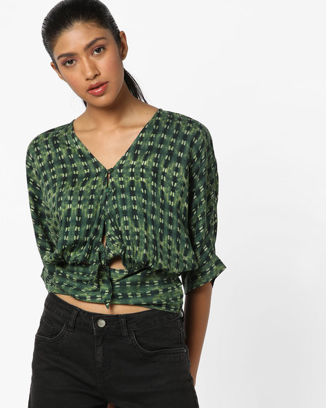 Blouse Top With Cut Out By AJIO ( Olive )