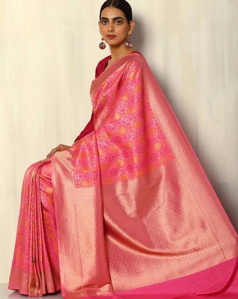 Patola-Style Brocade South Silk Saree By Pretty Woman ( Pink ) - 460092280001