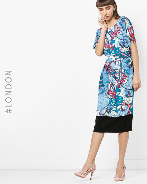 Abstract Print Pencil Dress With Extended Sleeves By Closet London ( Multi )