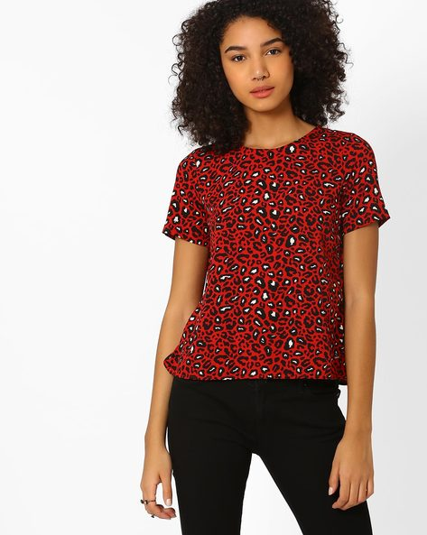 Printed Top With Envelope Back By Only ( Red )