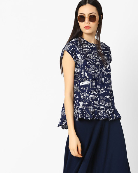 Doodle Print Flared Top By AJIO ( Navyblue )