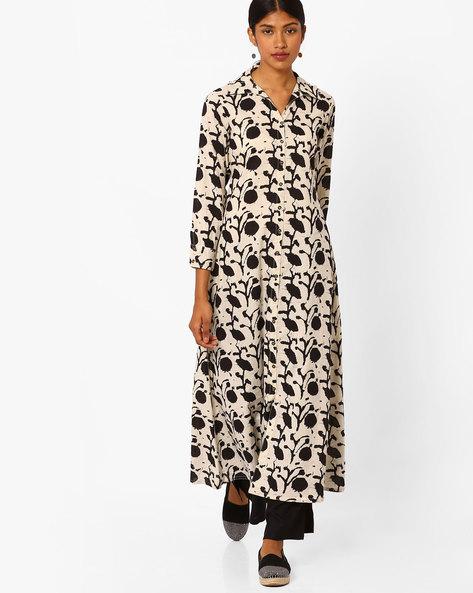 Floral Print Maxi Dress By Jaipur Kurti ( Offwhite )