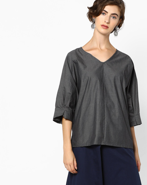 V-neck Top With Voluminous Sleeves By AJIO ( Black )
