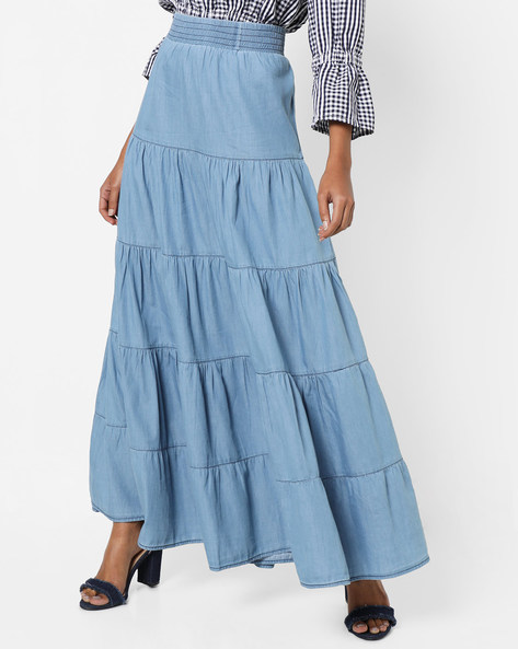 Denim Tiered Maxi Skirt By AJIO ( Lightblue )